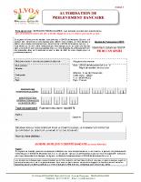 Autorisation de prelevement bancaire – Modifiable